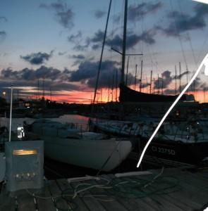 2015-09-26 19h20 soleil couchant au ponton Civitanova Adriatique Italie